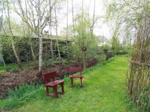 red seats in childrens garden