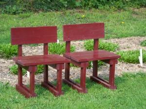 red seats in sculpture garden
